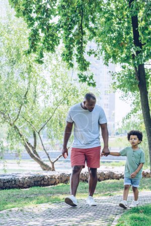 Photo for Handsome african american man holding hands with adorable son while walking in park - Royalty Free Image