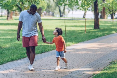 Photo pour Happy african american father and son holding hands and looking at each other while walking in park - image libre de droit