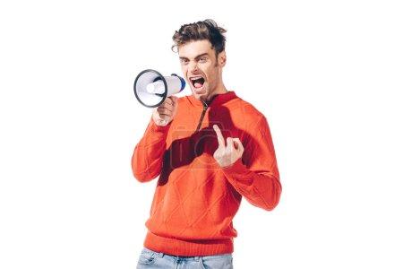 Photo pour Un homme en colère montre le majeur alors qu'il crie en mégaphone, isolé sur - image libre de droit