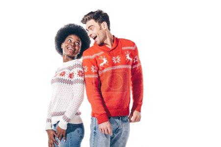 Photo pour Heureux couple multiethnique se regardant, isolé sur blanc - image libre de droit