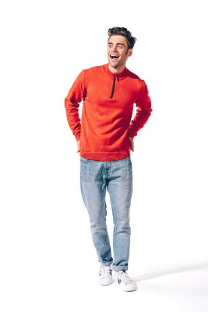 Photo for Handsome cheerful man in red sweater, isolated on white - Royalty Free Image