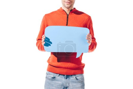 cropped view of man holding blue empty thought bubble, isolated on white