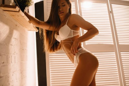 Photo pour Passionate woman with long hair posing in white lingerie near folding screen - image libre de droit