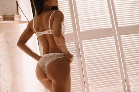 Photo pour Vue recadrée de fille sexy posant en lingerie blanche près de l'écran pliant - image libre de droit