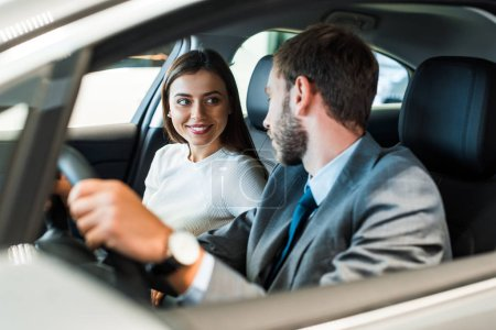 Photo for Selective,focus,of bearded man driving car and looking at girl - Royalty Free Image