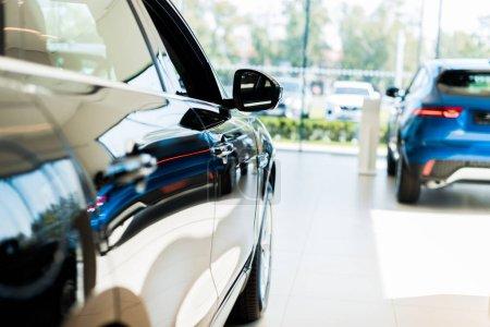 Photo pour Foyer sélectif des voitures vierges et bleues brillantes dans la salle d'exposition de voiture - image libre de droit