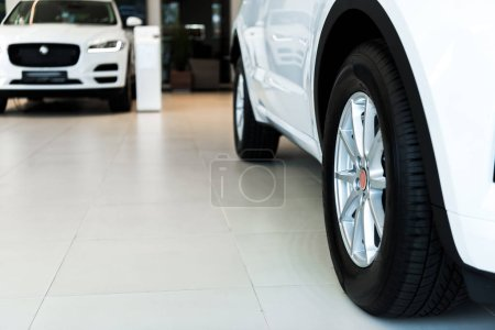 Photo for Selective focus of white shiny cars in car showroom - Royalty Free Image