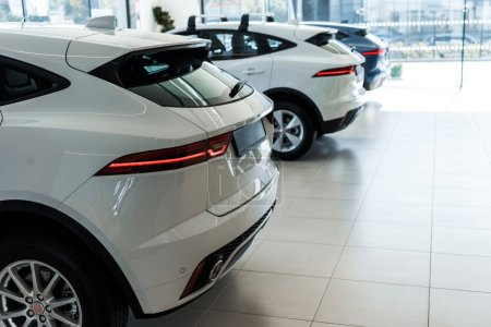 selective focus of white shiny cars in car showroom