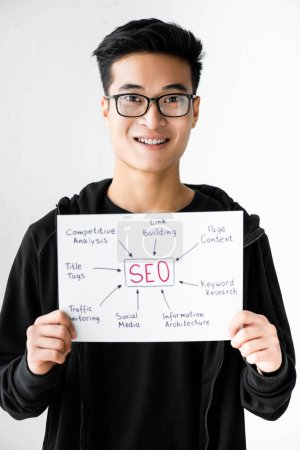 Photo for Smiling asian seo manager holding paper with concept words of seo - Royalty Free Image