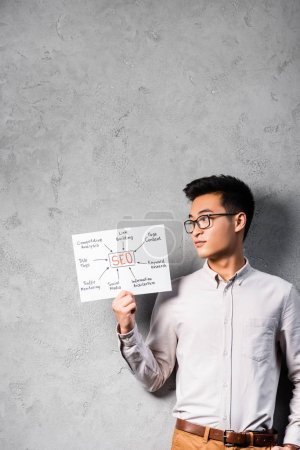 Photo for Asian seo manager holding and looking at paper with concept words of seo - Royalty Free Image