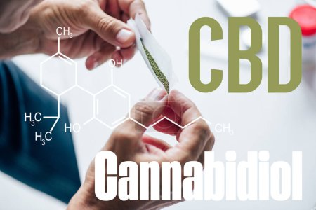 Photo for Cropped view of man holding blunt of medical cannabis with cbd molecule illustration - Royalty Free Image