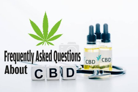 cubes with cbd lettering near oil and stethoscope isolated on white with frequently asked questions about cbd illustration