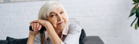 panoramic shot of smiling senior woman with wooden cane looking at camera in apartment