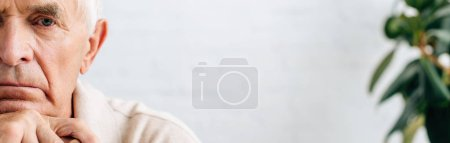 Photo pour Photo panoramique d'un homme âgé triste regardant une caméra dans un appartement - image libre de droit