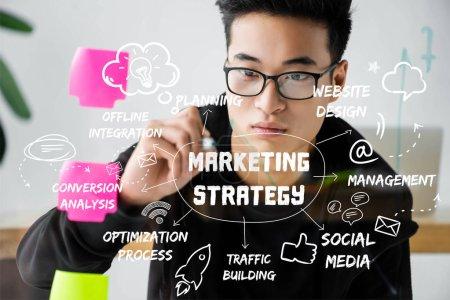 Photo pour Asian gestionnaire seo écriture sur verre avec illustration de mots conceptuels de stratégie de marketing - image libre de droit