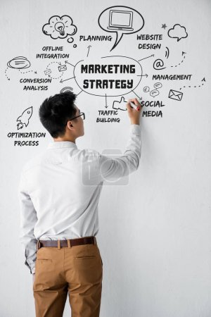 Photo pour Back view of seo manager writing on wall with illustration with concept words of marketing strategy illustration - image libre de droit