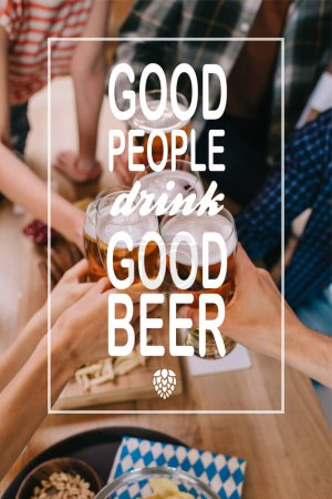 Foto de Cropped view of multicultural friends clinking glasses of light beer in pub with good people drink good beer illustration - Imagen libre de derechos