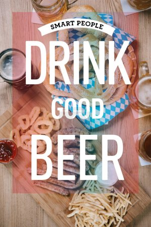 Photo pour Top view of fried sausages, onion rings, french fries, pretzels and mugs with beer on wooden table in pub with smart people drink good beer illustration - image libre de droit