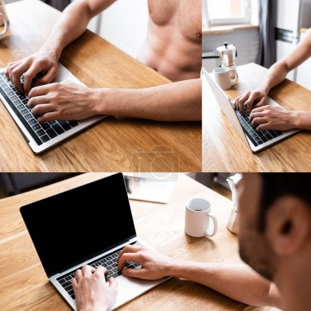 Photo for Collage with sexy shirtless freelancer working on laptop on kitchen with cup of coffee - Royalty Free Image
