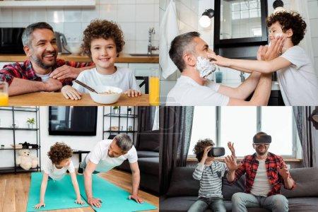 Photo pour Collage de fils et père heureux touchant les visages avec de la mousse à raser, l'exercice, en utilisant des casques de réalité virtuelle et souriant près du petit déjeuner - image libre de droit