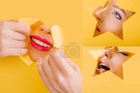 Foto de Collage de hermosa mujer con maquillaje brillante en forma de estrella de papel y agujero roto aislado en amarillo - Imagen libre de derechos