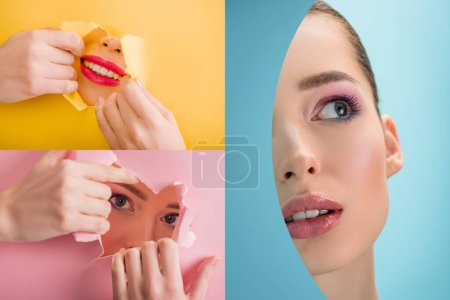 collage of beautiful woman with shiny makeup in paper round and torn hole on pink, yellow and blue background