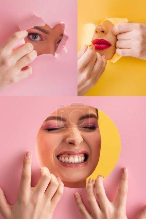 Photo pour Collage de belle femme avec maquillage brillant en papier rond et trou déchiré sur fond rose, jaune - image libre de droit