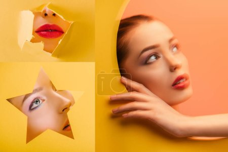 Photo for Collage of beautiful woman with crimson lips in paper circle and torn hole - Royalty Free Image
