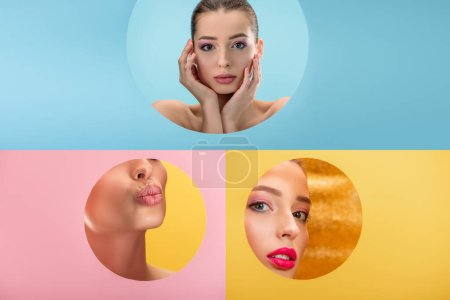 Photo for Collage of naked beautiful woman in paper circle hole on blue, yellow and pink background - Royalty Free Image
