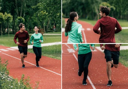 Photo for Collage of smiling couple running together on running path in park - Royalty Free Image