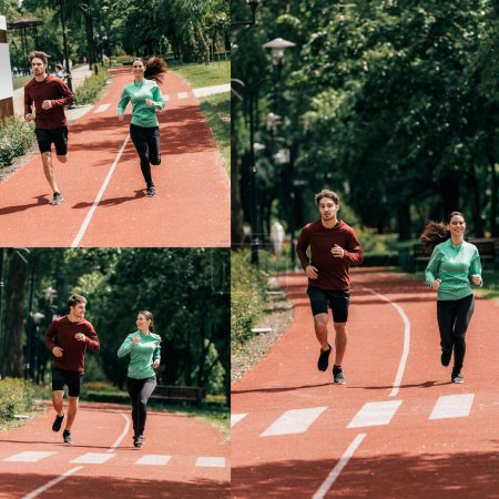 Photo for Collage of couple training together while jogging on running track in park - Royalty Free Image