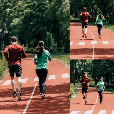Photo for Collage of couple in sportswear jogging on running track in park - Royalty Free Image