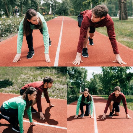 Photo for Collage of couple standing in starting position on running track in park - Royalty Free Image