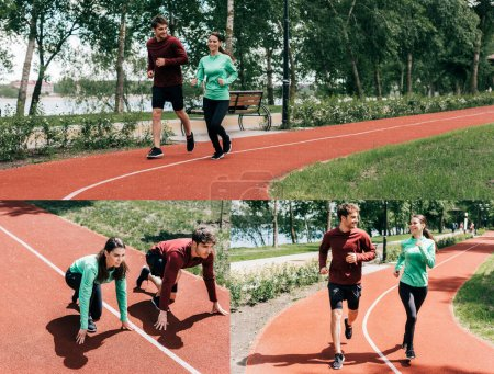 Photo for Collage of smiling young couple jogging on running track in park - Royalty Free Image