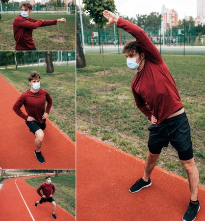 Photo for Collage of man in medical mask training on running track in park - Royalty Free Image