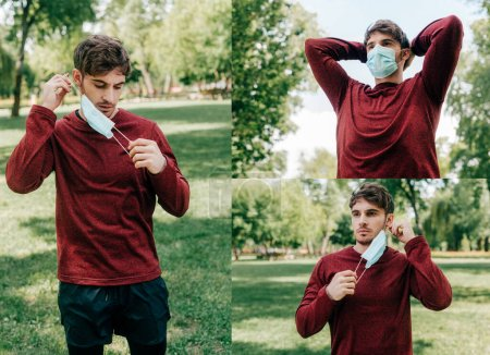 Photo for Collage of man holding medical mask while exercising in park - Royalty Free Image