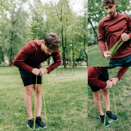 Photo for Collage of handsome man training with elastic band in park - Royalty Free Image