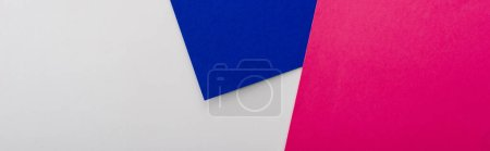 Photo for Abstract geometric background with white, pink, blue paper, panoramic shot - Royalty Free Image
