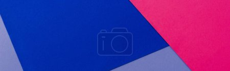 Photo for Abstract geometric background with lilac, pink, blue paper, panoramic shot - Royalty Free Image