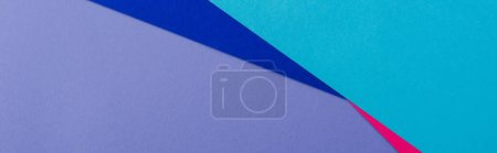 abstract geometric background with lilac, pink, blue paper, panoramic shot