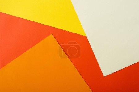 Photo for Abstract geometric background with white, red, yellow and orange bright paper - Royalty Free Image