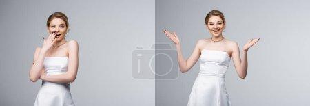 Photo pour Collage de mariée émotionnelle en robe de mariée blanche geste isolé sur gris - image libre de droit