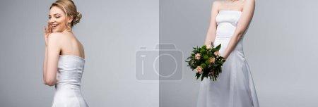 Photo pour Collage de mariée en robe blanche riant et tenant bouquet de mariage isolé sur gris - image libre de droit