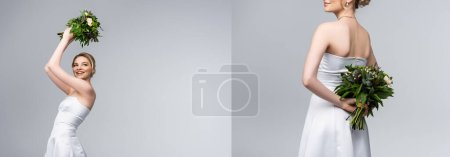 Photo for Collage of young and cheerful woman in white wedding dress holding bouquet of flowers above head isolated on grey - Royalty Free Image