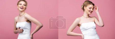 Photo pour Collage de mariée heureuse en robe de mariée blanche riant isolé sur rose - image libre de droit
