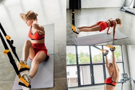 Photo for Collage of athletic girl in sportswear exercising with resistance bands on fitness mats - Royalty Free Image