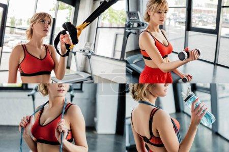 Photo pour Collage de femme sportive travaillant avec des élastiques, haltères et tenant bouteille de sport dans la salle de gym - image libre de droit