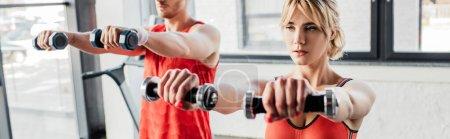 Photo pour Orientation panoramique du couple sportif faisant de l'exercice avec haltères en salle de gym - image libre de droit