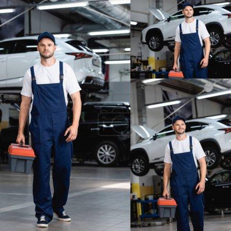 Photo pour Collage de mécanicien heureux en uniforme et casquette marche avec boîte à outils dans le service de voiture - image libre de droit