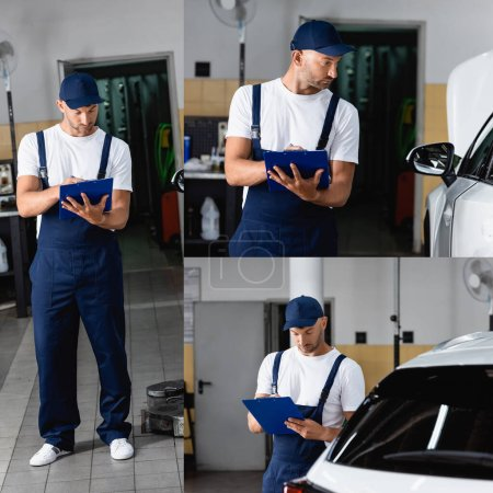 Photo for Collage of mechanic in uniform and cap holding clipboard and looking at car - Royalty Free Image